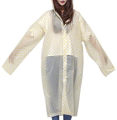 dcb9eacb193 QZUnique Women s Eco-Friendly EVA Translucent Raincoat Fashion Poncho  Hooded Rainwear Yellow