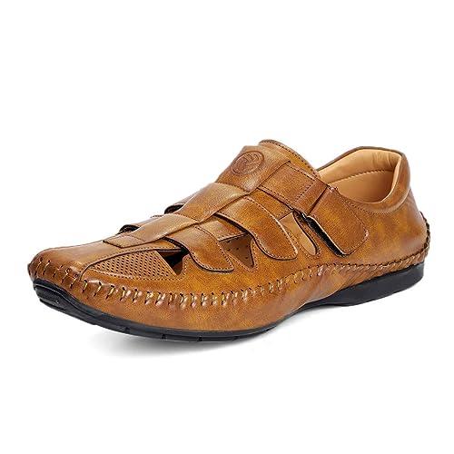 4f0107c40b2 Bacca Bucci Men s Tan Closed Toe Soft PU Leather Fisherman Roman Sandals  UK-13
