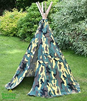 Garden Games Camouflage Wigwam Play Tent Canopy Water Proof Fabric W/Velcro Door : tent fabric uk - memphite.com
