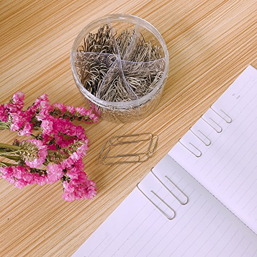 Paper Clips, 650 Pieces Assorted Sizes Silver Paperclips, Small, Medium and Jumbo (28mm, 33mm, 50 mm), for Office School Clips and Personal Document Organizing by Youyuan (Image #5)'