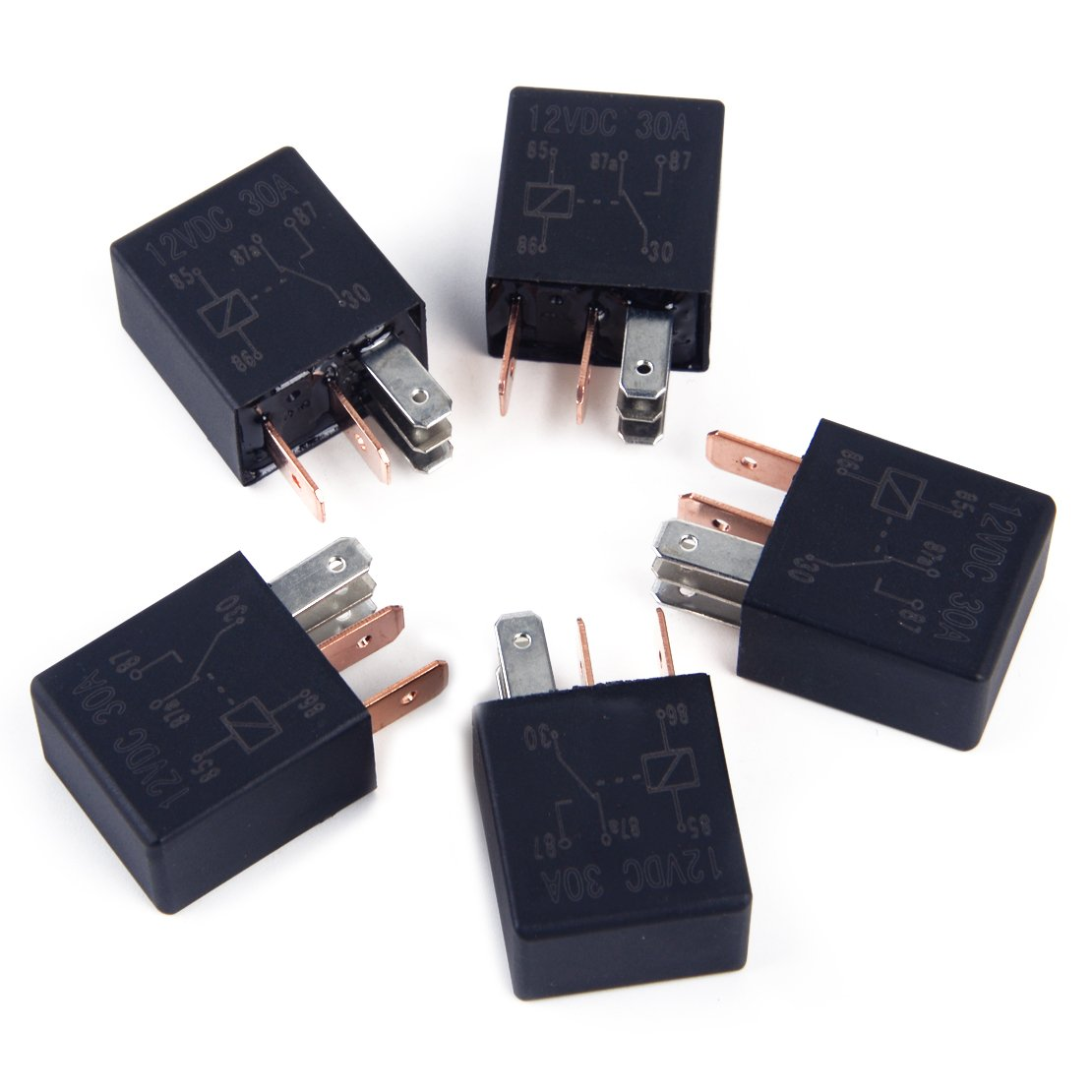 5 x 12V 30A 5 broches Micro Automotive Changeover Car Relais de voiture pour camion Bike Bike Boat Power Switch