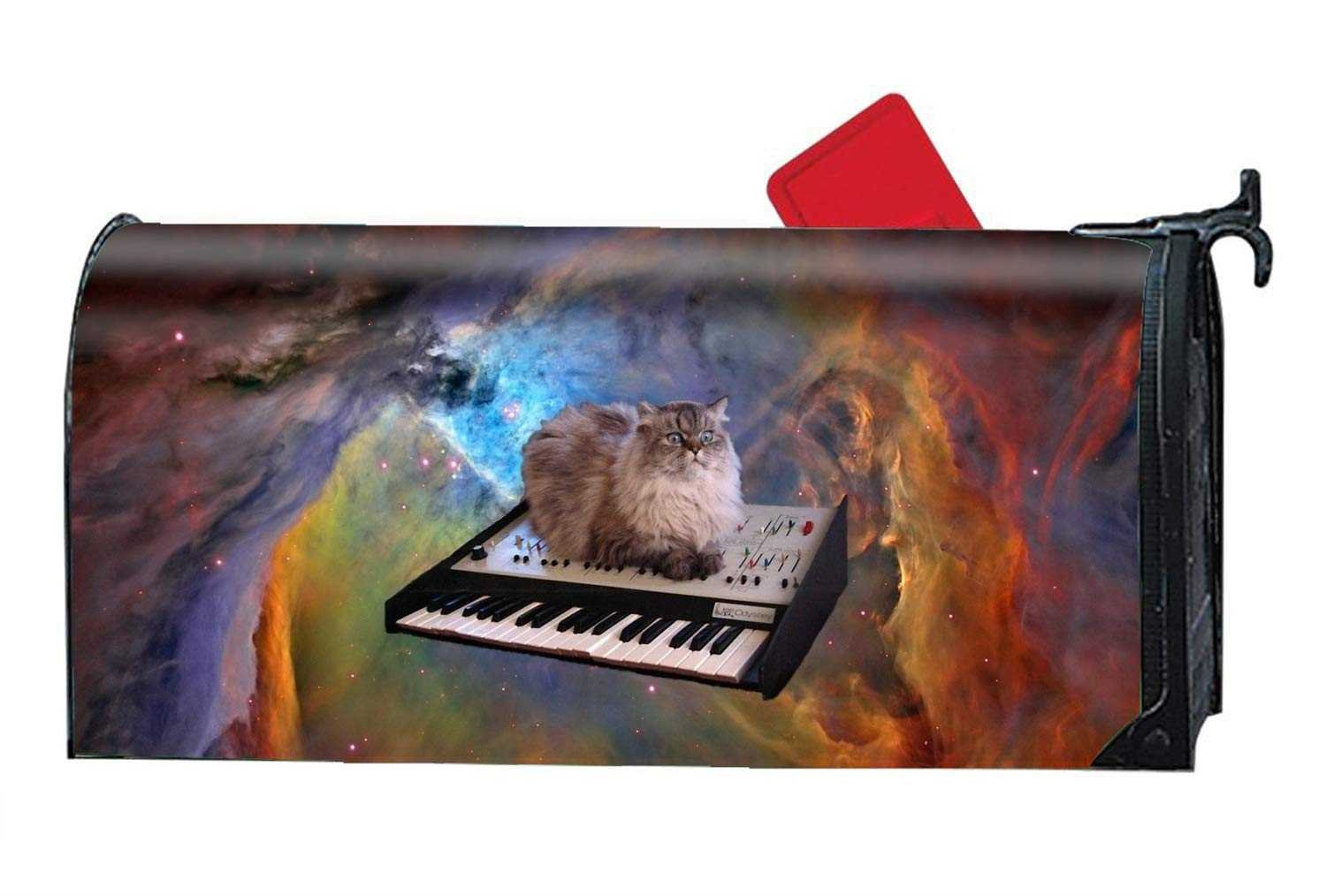 BABBY Animal Cat Space Piano Magnetic Mailbox Cover - Fairy Garden Accessories