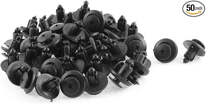 uxcell 10 Pcs Black Plastic Defender Push-Type Mat Clips