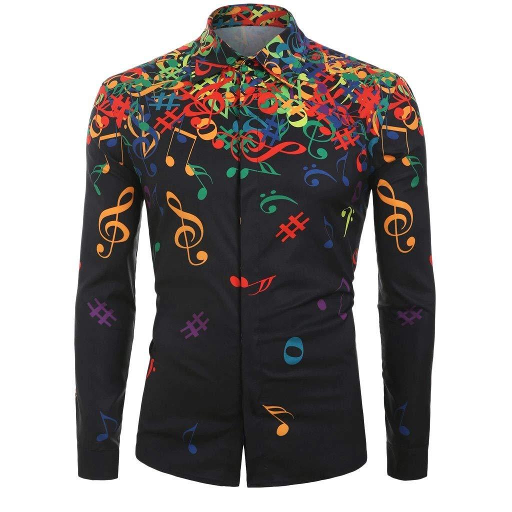 Men Casual Print Long Sleeve Shirt Novelty Musical Note Pattern Top Blouse Beautyfine