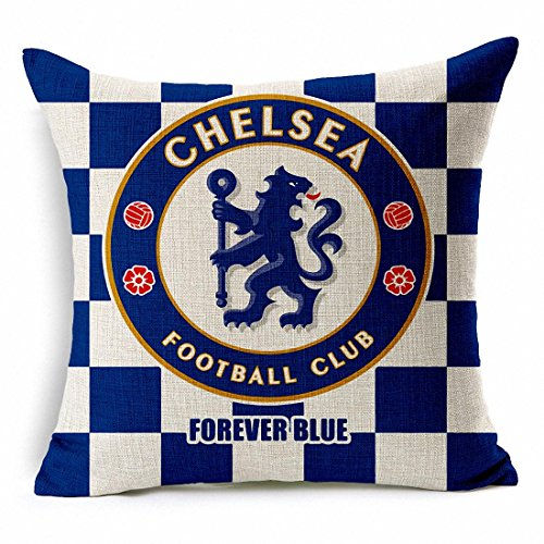 Esunshine Thick Cotton Blend Linen Square Throw Pillow Cover Decorative Cushion Case Pillow Case 18 X 18 Inches / 45 X 45 cm, Football Club Badge (Chelsea)