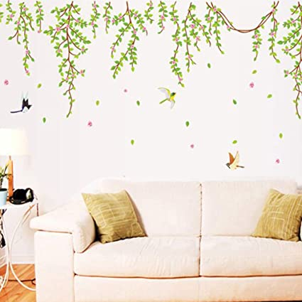 . BestGrew  Green Tree Branch Vine and Flying Birds Wall Decals  Living Room  Bedroom Removable Wall Stickers Murals