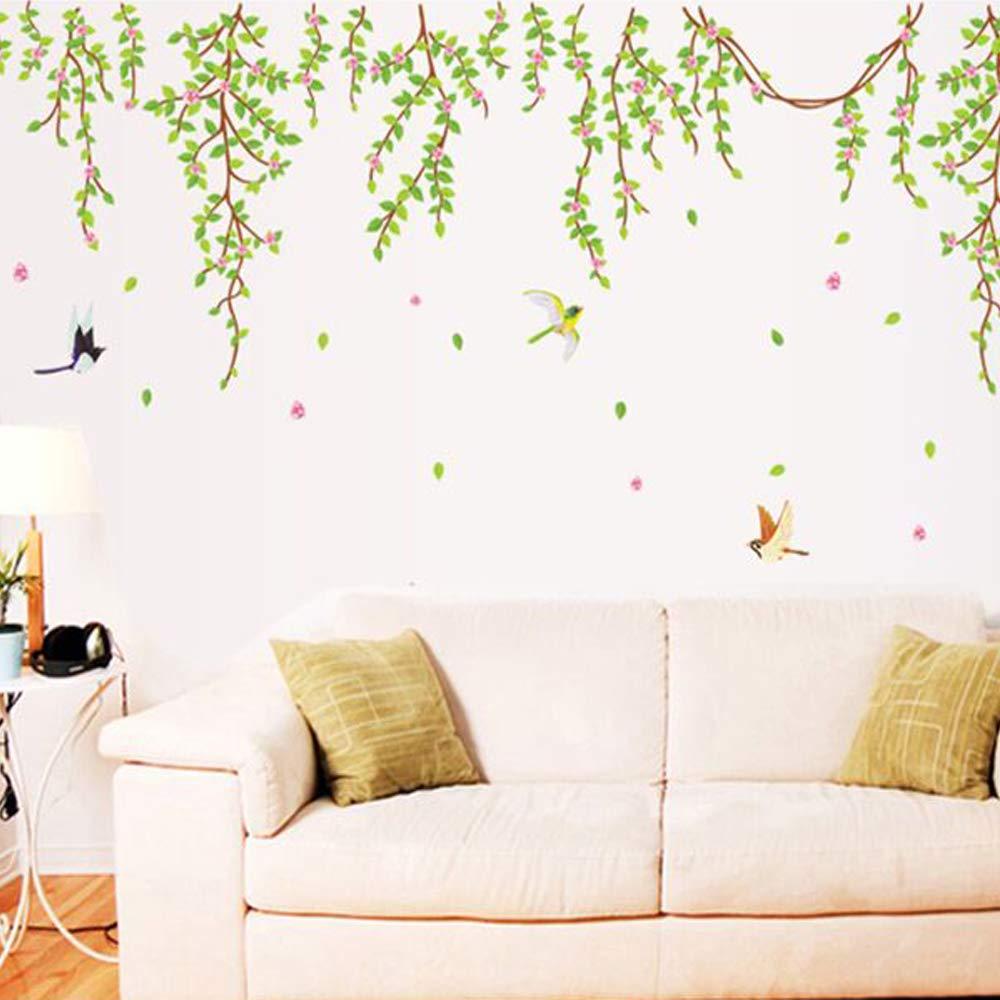 SWORNA Nature Series SN040 Lovely Large Green Tree Removable Vinyl DIY Wall Art Decor Decal Mural Sticker Kids Baby Nursery Living//Sitting Room Playroom Kindergarten Bedrooom Study Hallway 79H X 91W