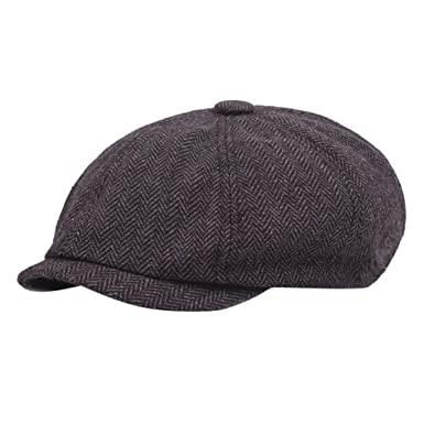 NINGNETI Black Gray Herringbone Newsboy Baker Boy Tweed Gorra ...