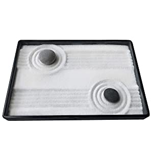 ICNBUYS Mini Zen Garden Classic with Free Rake Bamboo Pen Pushing Sand Pen Zen Garden Drawing Guild and Selected River Stones Well Packaged Gift Base Tray Dimensions 10 x 7 inches