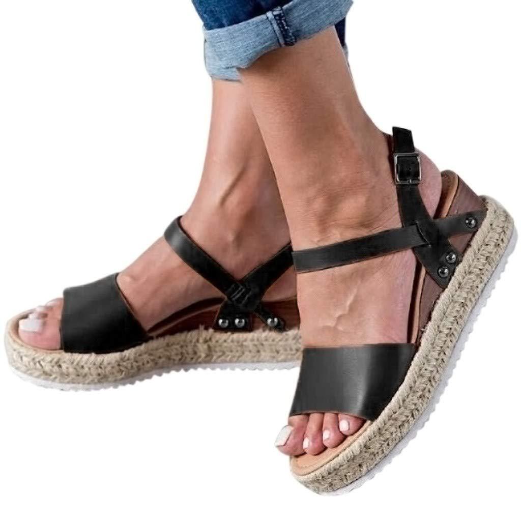 Women's Platform Sandals,Sharemen Espadrille Wedge Ankle Strap Studded Open Toe Sandals(Black,US: 6) by Sharemen Shoes (Image #2)