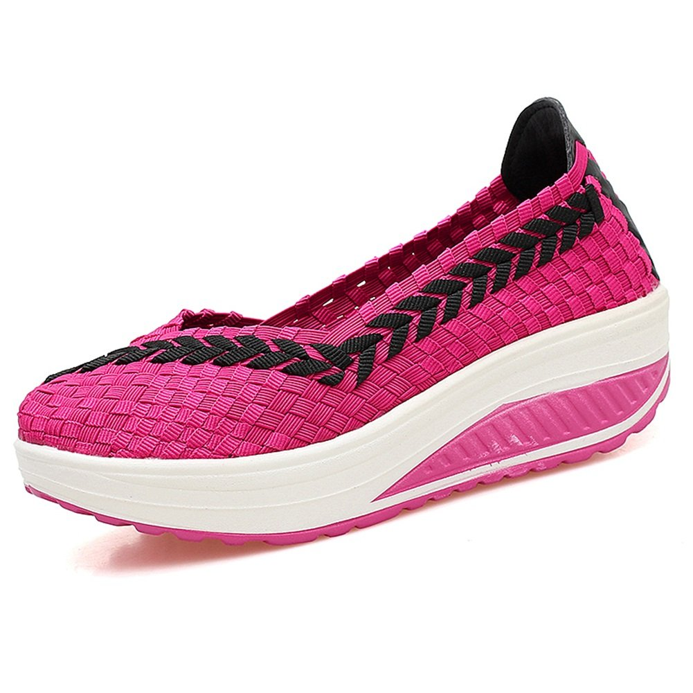 Femmes Chaussures Fitness Shake Chaussures Taille-Croissant Trainers Nouveau Tissé Shake Chaussures Sneakers Chaussures Casual Respirant Chaussures (Color : B, Taille : 37)