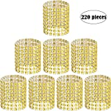 Zhanmai Rhinestone Napkin Rings Napkin Mesh Adornment for Wedding Party Birthday Supplies (Gold, 220 Pieces)