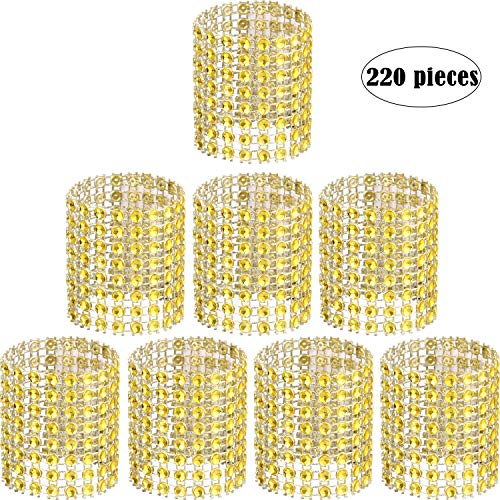Zhanmai Rhinestone Napkin Rings Napkin Mesh Adornment for Wedding Party Birthday Supplies (Gold, 220 Pieces) (Napkin Ring Wedding Ring)