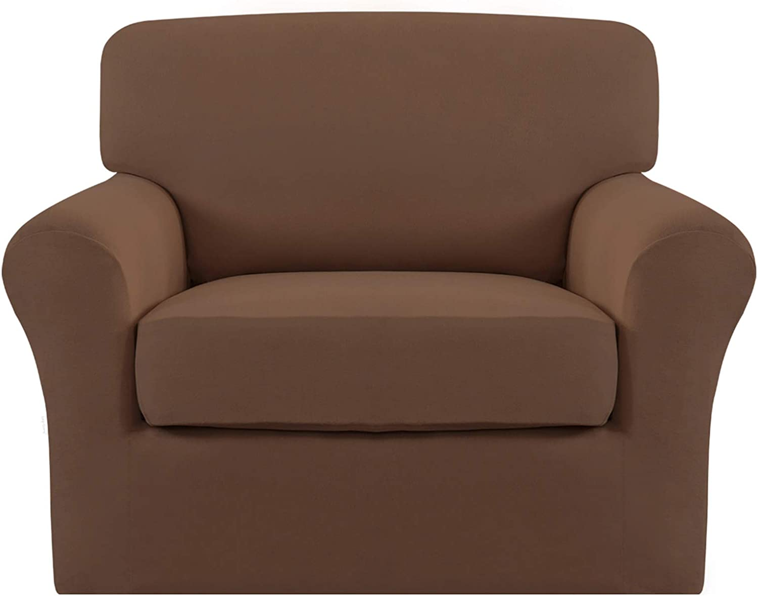 Easy-Going 2 Pieces Microfiber Stretch Couch Slipcover – Spandex Soft Fitted Sofa Couch Cover, Washable Furniture Protector with Elastic Bottom for Kids,Pet (Chair, Brown)
