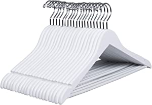 Amber Home Solid Wood Suits Coats Hangers 30 Pack Smooth White Shirts Dresses Jackets Clothes Hangers with Non-Slip Pants Bar for Jeans Slacks, Well Cut Notches and Swivel Chrome Hook (White 30 Pack)