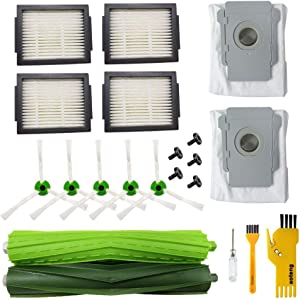 Accessory for iRobot Roomba i7 i7+ E5 E6 E7 Robot Vacuum Cleaner Replacement Parts Pack of 1 Set Rubber Brushes, 4 Hepa Filters, 5 Side Brushes, 5 Screws, 1 Cleaning Tools, 2 Bags