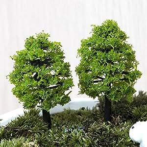 SecretRain 5piezas Adorno de en miniatura decoración para el hogar árbol verde 11cm
