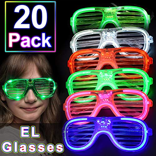 TURNMEON 20 Pack EL Glasses Party Favor Light Up Glasses, 3 Mode Flashing Glow in The Dark EL Neon Party Supplies LED Glasses Halloween Light Up Toys for Holiday Outdoor Rave Party