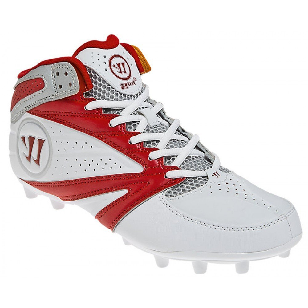 Warrior Second Degree 3.0 LaCrosse Cleat, White/Red, 10.5 D US