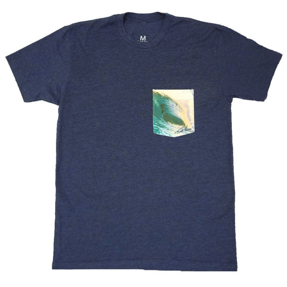 Dustin clothing series Surf Tube Surfing Surfer Soft T-Shirt Tee Printed Pocket Navy Blue