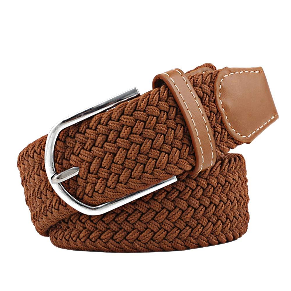 XFentech Mens//Womens Elastic Belt Stretch Leather Canvas Elasticated Woven Belt