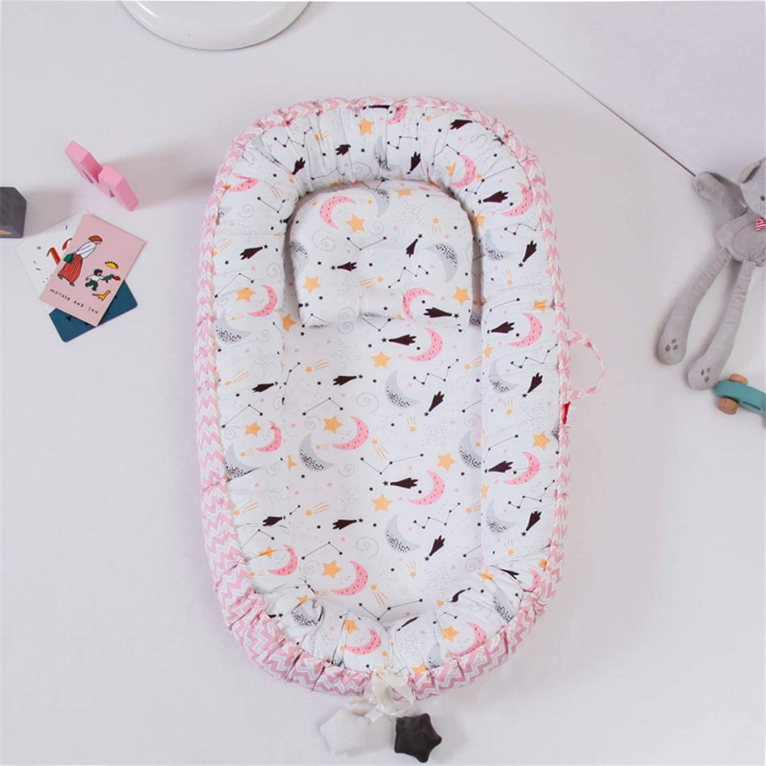 USTIDE Baby Bassinet Co-Sleeping Baby Bassinet Soft Comfortable Baby Pod Cot Skin-Friendly Baby Nest Pink Cloud Print Newborn Girls Baby Bed 2 Pieces