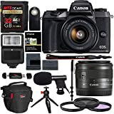 Canon EOS M5 15-45mm f/3.5-6.3 IS STM Mirrorless Digital Camera, 32gb Memory Card, 72 Monopod, Microphone & Accessory Bundle