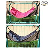 Maysunday Cat Hanging Hammock 2 Sides Used with Cage/Chair 2 Packs, Polka Dots Small Animal Hammock Bed for Pet Rabbit, Ferret, Bubby, Kitten,Rat (13.4x20.5inch, Rose Red + Navy)