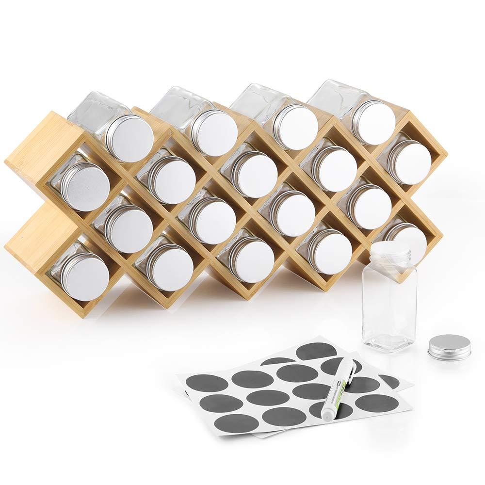 Ecooe Portaspezie di bamb/ù con 18 barattoli di spezie e barattoli di Alluminio per larmadio da Cucina e Il Piano di Lavoro