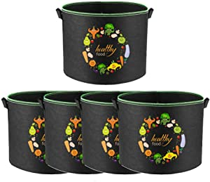 CHOiES record your inspired fashion Grow Bags 5-Pack 8 Gallon Aeration Fabric Pots Container with Handles for Vegetable Garden Raised Planter and Fruits