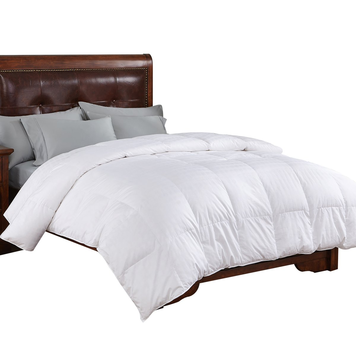 PEACE NEST All Season White Goose Down Comforter, 600 Fill Power Down Fill, 100% Cotton Shell 300 Thread Count, Full/Queen Size, White HE-DC-16013-F/Q