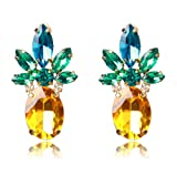 Amazon Price History for:Women or Girl's Vibrant Color Pineapple Earrings Jewelry Gold Color Stud Earring With Crystal Beads for Beach Wedding Party Outfits With Wmao Bag