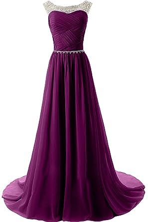 Sunvary Elegant Neu Rund Steine Chiffon Traeger Abendkleider Lang  Mutterkleider Partykleider Damen-32-Bildfarbe