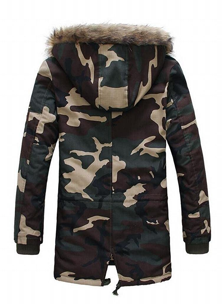 ouxiuli Mens Long Sleeve Hooded Faux Fur Leather Camouflage Jacket Thick Hooded Down Jacket