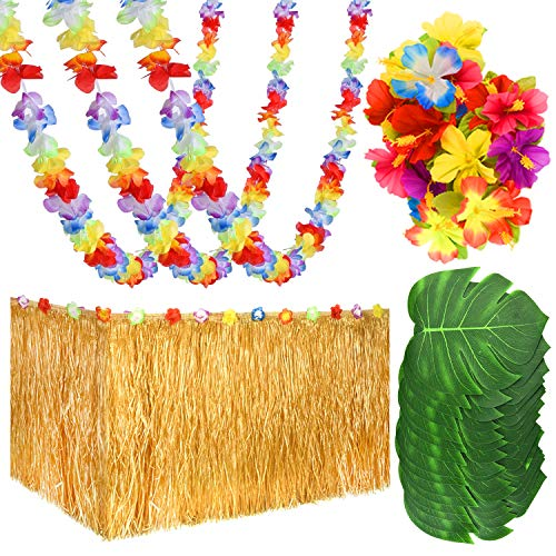 KUUQA 65 PCS Luau Tropical Hawaiian Party Decoration Set Including 9 ft Luau Table Grass Skirt, 4 Pack Hawaiian Flower Lei Garland, 30 Hibiscus Flowers and 30 Artificial Tropical Leaves]()