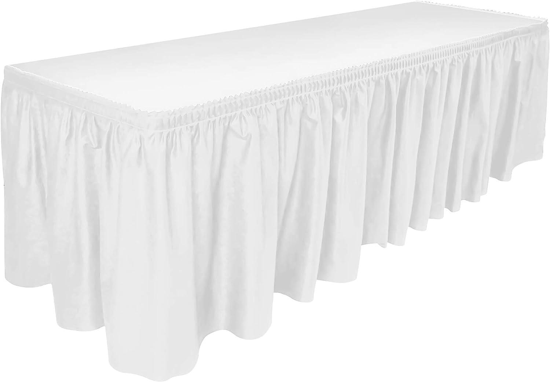 DecorRack Table Skirt, 29 in x 14 ft -BPA Free- Plastic Tableskirt, Disposable, Reusable, Rectangular Tablecloth Skirt, White (1 Pack)