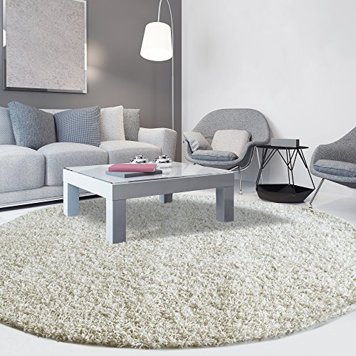 iCustomRug Cozy Soft And Plush Pile, (10' Diameter) Round Shag Area Rug In Off White (Round Large Rugs Area)
