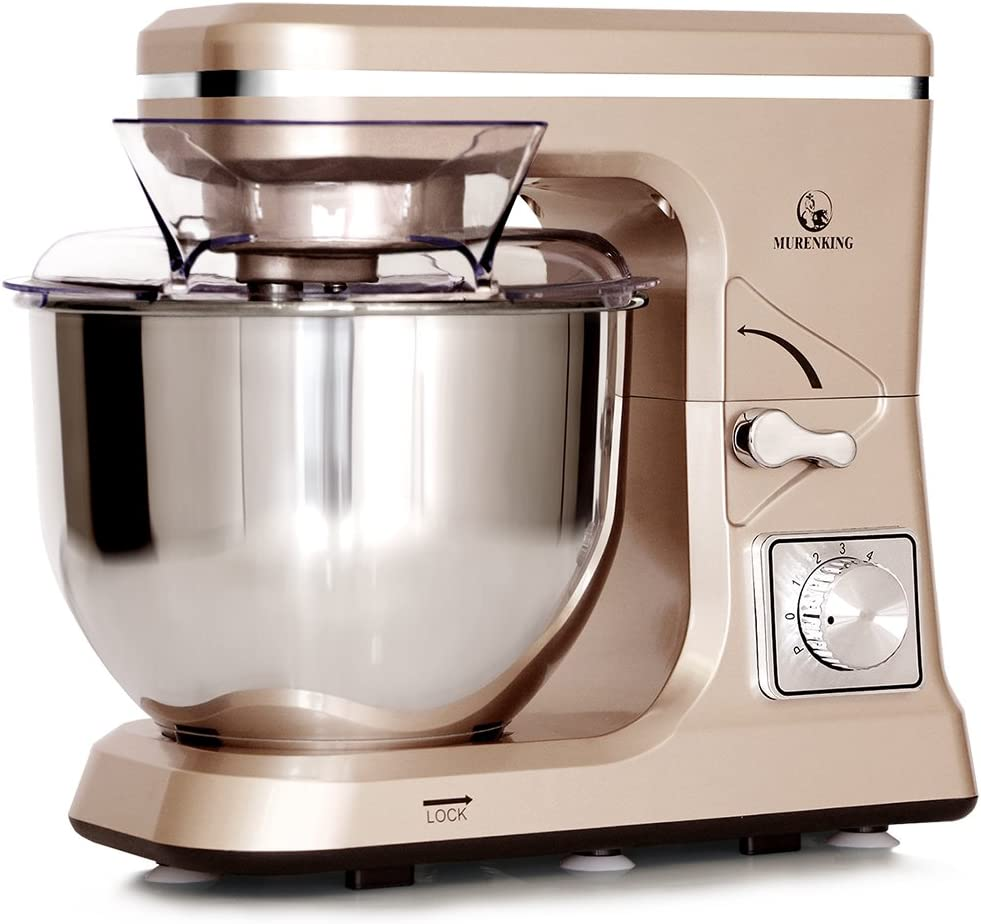 MURENKING Stand Mixer MK36 500W 5-Qt 6-Speed Tilt-Head Kitchen Food Mixer with Accessories Champagne