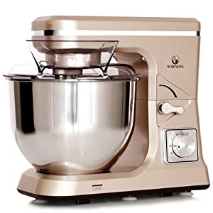 MURENKING Stand Mixer MK36 500W 5-Qt 6-Speed Tilt-Head Kitchen Food Mixer with Accessories (Champagne
