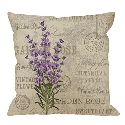 HGOD DESIGNS Lavender Pillow Case,Vintage Postcard Composition with Grunge Display and Flowers Cotton Linen Cushion Cover Square Standard Home Decorative for Men/Women 18x18 inch Gray Purple ()