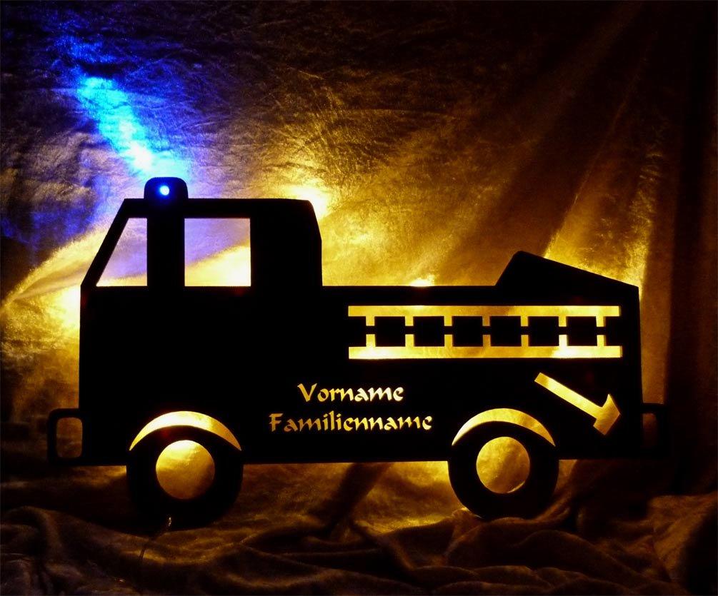 Schlummerlicht24 Led Wandbild NachtlichtFeuerwehrauto mit Name f/ür kleine und gro/ße Feuerwehrm/änner Junge Jungs Mann M/änner Erwachsene