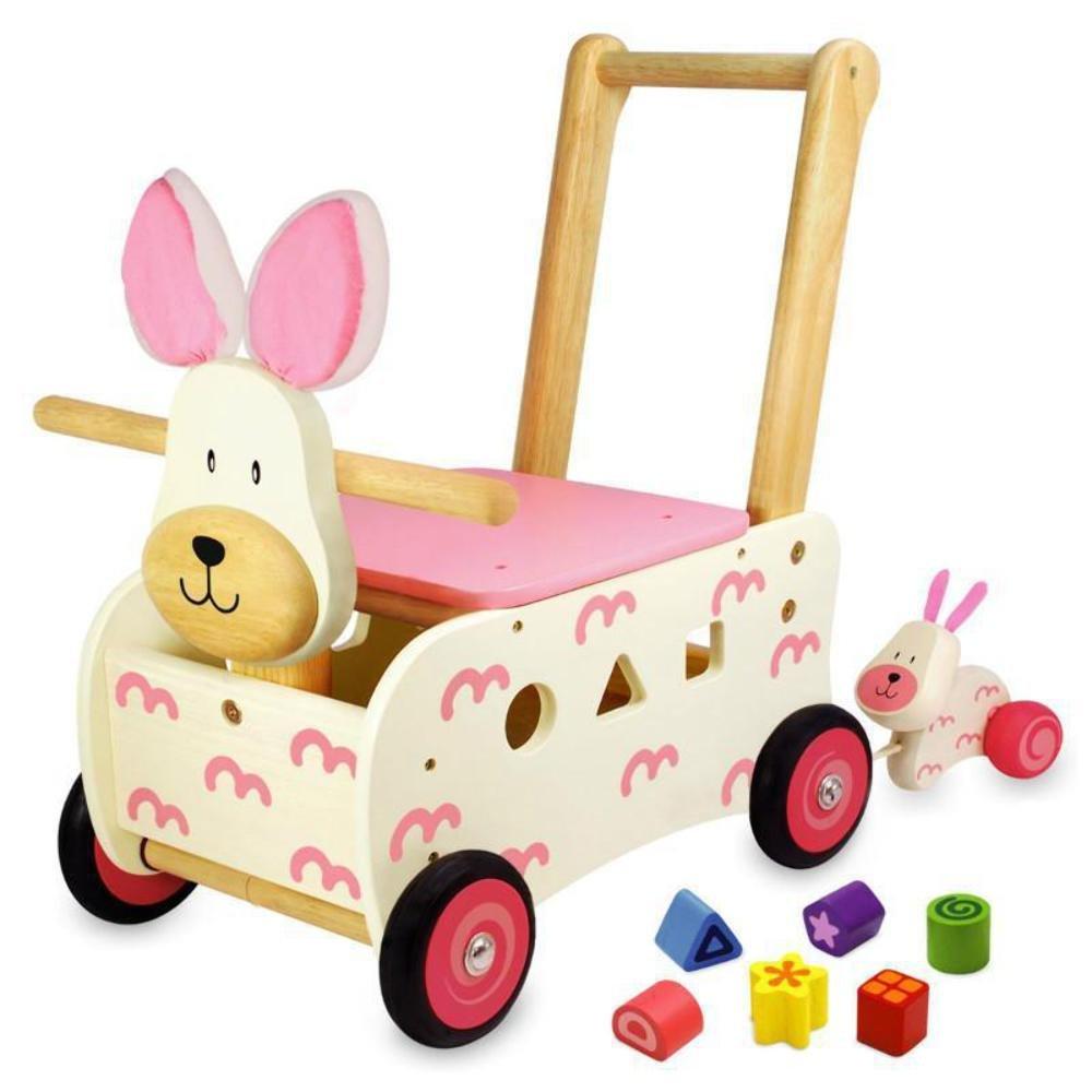 Lauflernwagen Holz Mädchen - I'm Toy Schiebewagen Hase