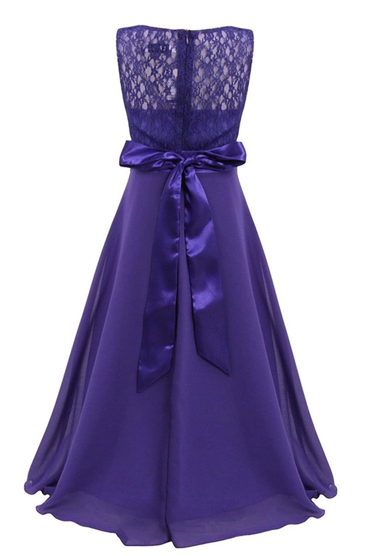 Amazon.com: YMING Big Girls Lace Chiffon Wedding Bridesmaid Party ...