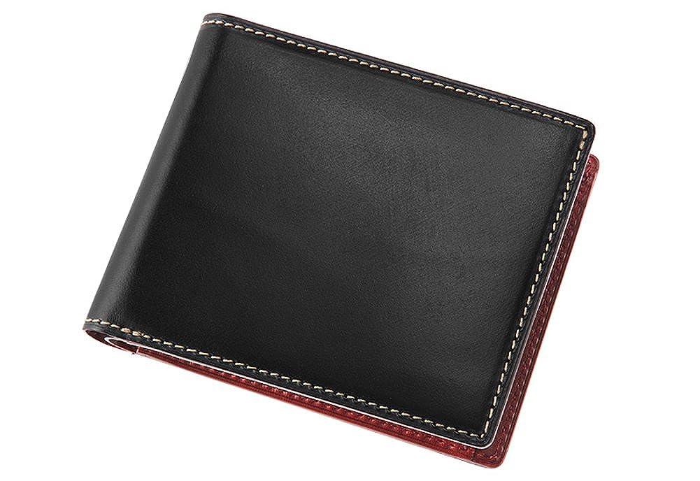 【キプリス】二つ折り財布(小銭入れ付き札入)■ブライドルレザー&ルーガショルダー B073F75379 ブラック/レッド