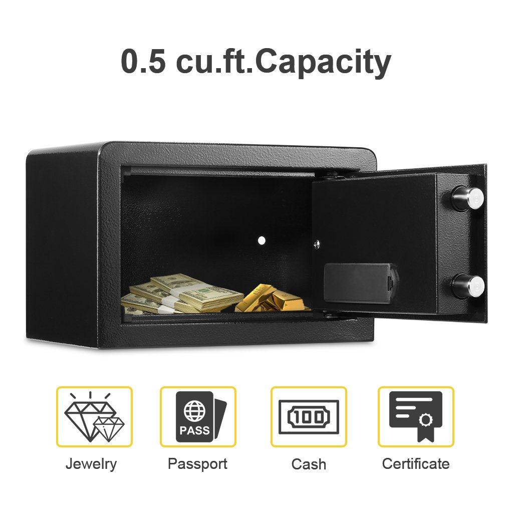 Electronic Digital Security Safe Box, Solid Steel Construction Hidden with Deadbolt Lock Wall-Anchoring Design for Home Office Hotel Business Jewelry Gun Cash Medication (0.5 Cubic Feet)