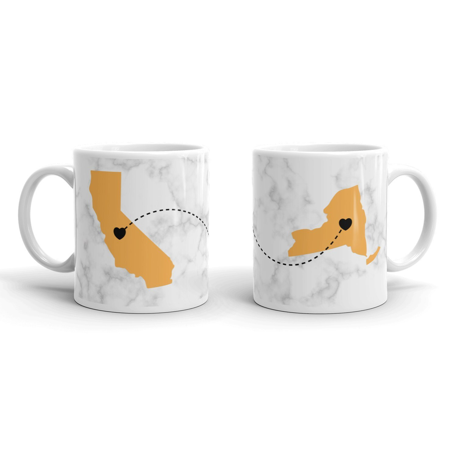 Best Friend - Long Distance Anywhere Personalized Coffee Mug | Gold on Marble - Between Any US States, Any Provinces, Any Countries | Share your love for each other with this awesome customized gift!