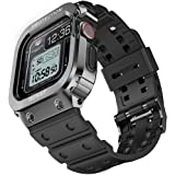 amBand Bands Case Compatible with Apple Watch 44mm, Moving Fortress Rugged Metal Bumper Men Shockproof TPU Military Strap Pro