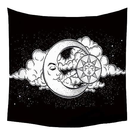 Mandala - Tapiz decorativo étnico, sol, luna, cara, cielo ...