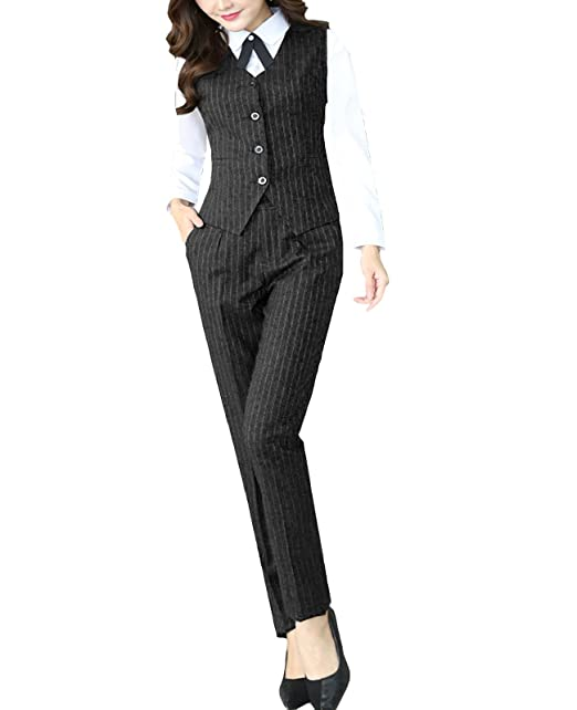 1920s Skirts, Gatsby Skirts, Vintage Pleated Skirts MFrannie Womens Stripes Blouse Pants Vest 3-Pieces Office Lady Work Suit Set $78.99 AT vintagedancer.com