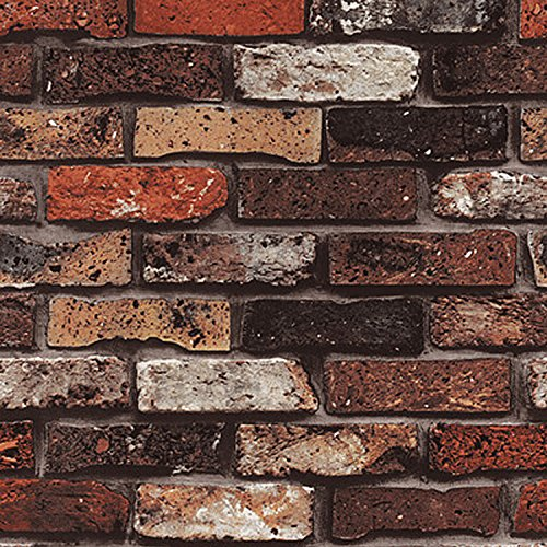 WitHome 57sq.ft Wallpaper Faux Smooth Rust Tuscan Red Brick Wall Looks Real Up Modern Faux Red Brick Stone Textured Wallpaper Roll Red Multi 3D Brick Blocks Home Room Decoration (Mix Red)